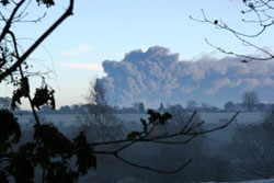 Buncefield fire from the Commons, © Graham Kersting